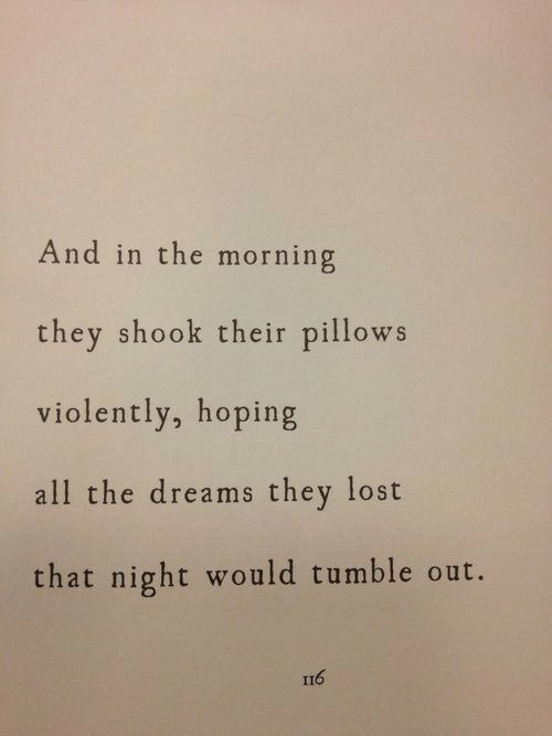 pillows: And in the morning  they shook their pillows  violently, hoping  all the dreams they lost  that night would tumble out.  116