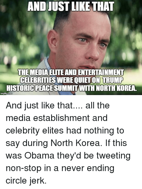 North Korea, Obama, and Trump: AND JUST LIKE THAT  THEMEDIA ELITE AND ENTERTAINMENT  CELEBRITIES WERE QUIETON TRUMP  HISTORICPEACE SUMMITWITH NORTHKOREA.