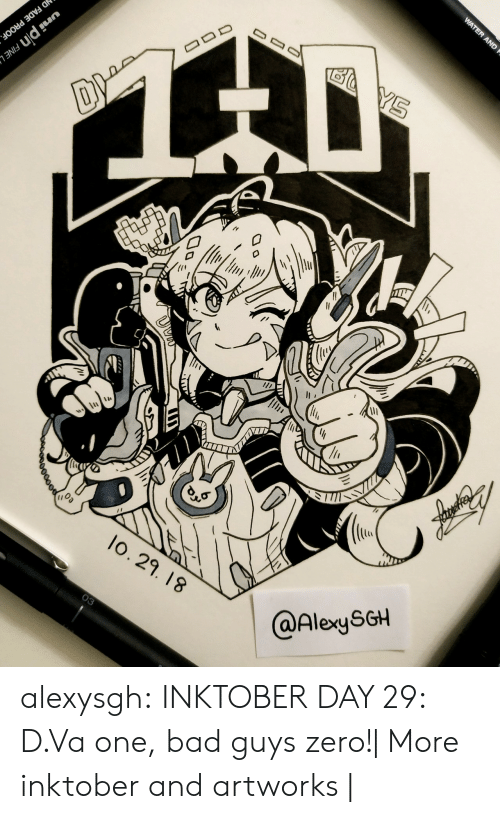 D Va: AND  lo. 29. 18  @AlexySGH alexysgh:  INKTOBER DAY 29: D.Va one, bad guys zero!| More inktober and artworks |