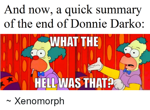 The Hell Was That: And now, a quick summary  of the end of Donnie Darko  WHAT THE  HELL WAS THAT ~ Xenomorph