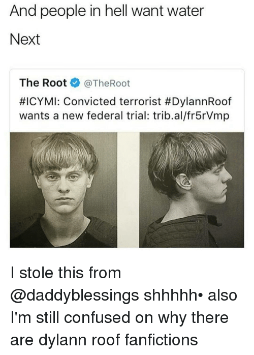federalism: And people in hell want water  Next  The Root  @TheRoot  #ICYMI: Convicted terrorist #DylannRoof  wants a new federal trial: trib.al/fr5rVmp I stole this from @daddyblessings shhhhh• also I'm still confused on why there are dylann roof fanfictions