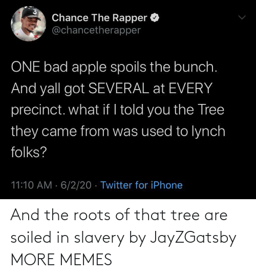 Tree: And the roots of that tree are soiled in slavery by JayZGatsby MORE MEMES