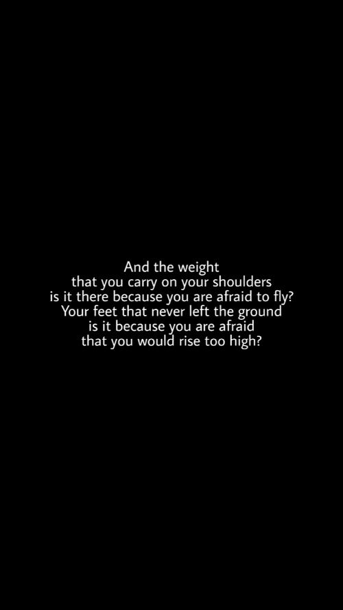 Too High: And the weight  that you carry on your shoulders  is it there because you are afraid to fly?  Your feet that never left the ground  is it because you are afraid  that you would rise too high?