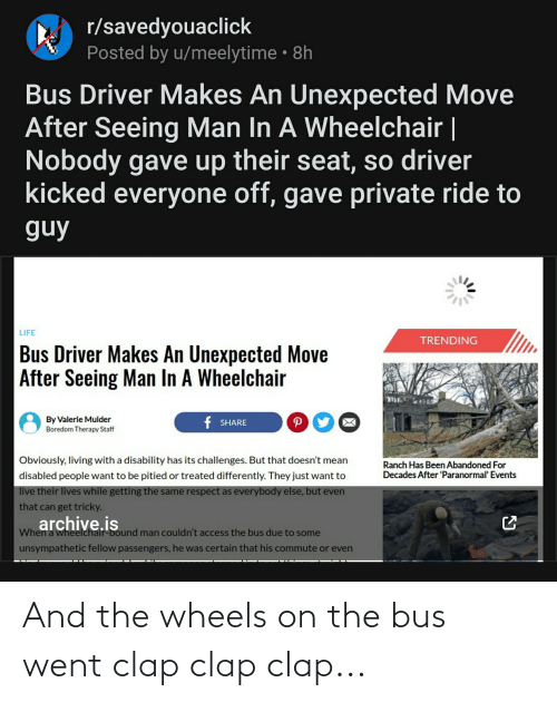 Thathappened, Bus, and Wheels: And the wheels on the bus went clap clap clap...