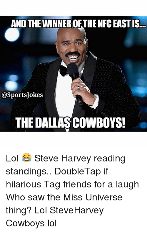 Dallas Cowboys, Friends, and Lol: AND THE WINNERORTHE NFC EAST IS...  @Sports Jokes  THE DALLAS COWBOYS! Lol 😂 Steve Harvey reading standings.. DoubleTap if hilarious Tag friends for a laugh Who saw the Miss Universe thing? Lol SteveHarvey Cowboys lol