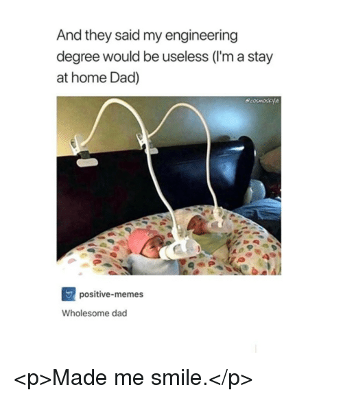 Dad, Memes, and Home: And they said my engineering  degree would be useless (I'm a stay  at home Dad)  positive-memes  Wholesome dad <p>Made me smile.</p>