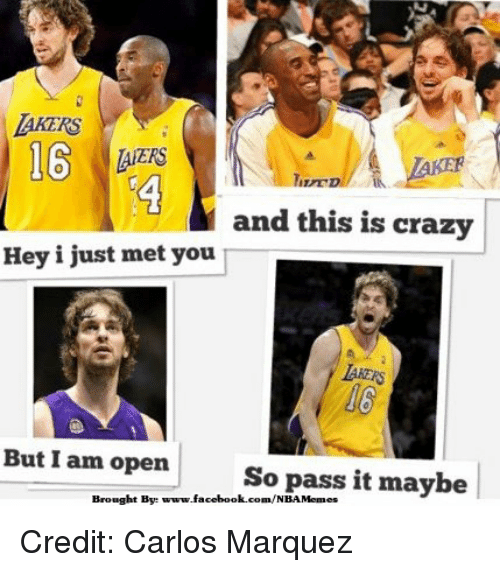 Crazy, Facebook, and Nba: and this is crazy  Hey i just met you  But I am open  So pass it maybe  Brought By:  www.facebook.com/NBAMemes Credit: Carlos Marquez