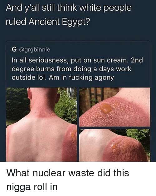 Egyption: And y all still think white people  ruled Ancient Egypt?  G @grgbinnie  In all seriousness, put on sun cream. 2nd  degree burns from doing a days work  outside lol. Am in fucking agony What nuclear waste did this nigga roll in