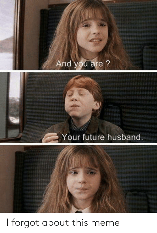 And You Are: And you are?  Your future husband. I forgot about this meme