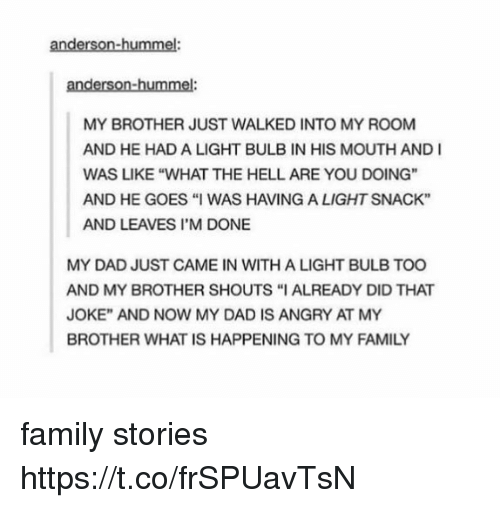 """Dad, Family, and Memes: anderson-hummel  anderson-hummel  MY BROTHER JUST WALKED INTO MY ROOM  AND HE HAD A LIGHT BULB IN HIS MOUTH AND I  WAS LIKE """"WHAT THE HELL ARE YOU DOING""""  AND HE GOES """"I WAS HAVING A LIGHT SNACK""""  AND LEAVES I'M DONE  MY DAD JUST CAME IN WITH A LIGHT BULB TOO  AND MY BROTHER SHOUTS """"I ALREADY DID THAT  JOKE"""" AND NOW MY DAD IS ANGRY AT MY  BROTHER WHAT IS HAPPENING TO MY FAMILY family stories https://t.co/frSPUavTsN"""