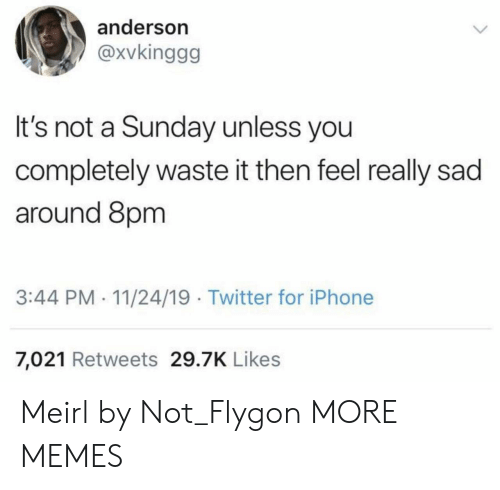flygon: anderson  @xvkinggg  It's not a Sunday unless you  completely waste it then feel really sad  around 8pm  3:44 PM- 11/24/19 Twitter for iPhone  7,021 Retweets 29.7K Likes Meirl by Not_Flygon MORE MEMES