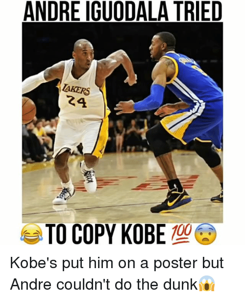 iguodala: ANDRE IGUODALA TRIED  AKERS  24  TO COPY KOBE Kobe's put him on a poster but Andre couldn't do the dunk😱