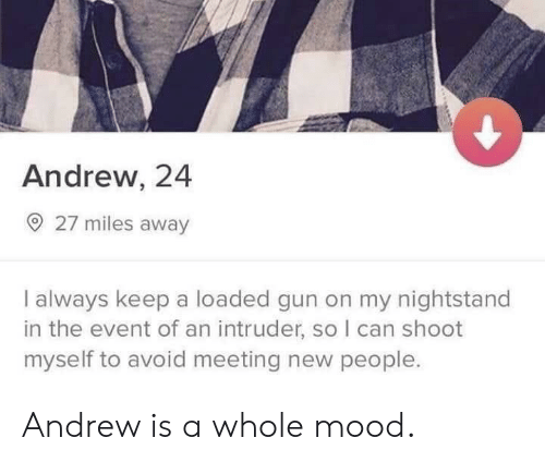 meeting new people: Andrew, 24  O 27 miles away  I always keep a loaded gun on my nightstand  in the event of an intruder, so I can shoot  myself to avoid meeting new people. Andrew is a whole mood.