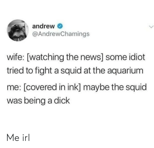 ink: andrew  @AndrewChamings  wife: [watching the news] some idiot  tried to fight a squid at the aquarium  me: [covered in ink] maybe the squid  was being a dick Me irl