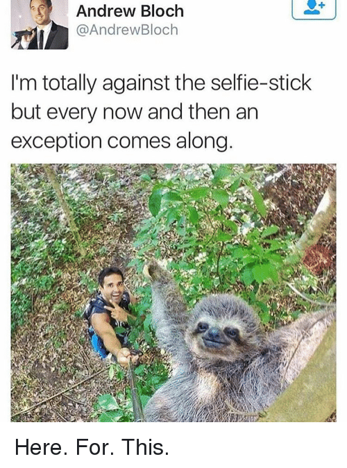 Girl Memes, Sticks, and Stick: Andrew Bloch  @Andrew Bloch  I'm totally against the selfie-stick  but every now and then an  exception comes along Here. For. This.