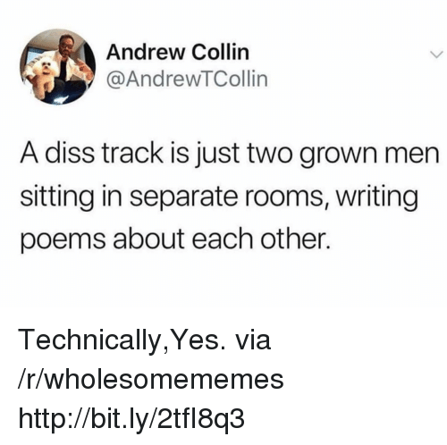 Diss: Andrew Collin  @AndrewTCollin  A diss track is just two grown men  sitting in separate rooms, writing  poems about each other. Technically,Yes. via /r/wholesomememes http://bit.ly/2tfI8q3