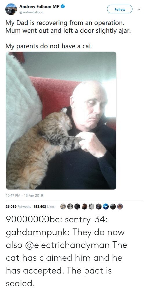 apr: Andrew Falloon MP  Follow  @andrewfalloon  My Dad is recovering from an operation.  Mum went out and left a door slightly ajar.  My parents do not have a cat.   10:47 PM - 13 Apr 2019  26,089 Retweets 158,603 Likes 90000000bc: sentry-34:   gahdamnpunk:  They do now also  @electrichandyman   The cat has claimed him and he has accepted. The pact is sealed.