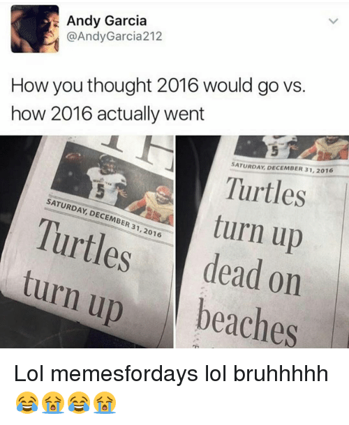 Lol, Memes, and Turn Up: Andy Garcia  @Andy Garcia 212  How you thought 2016 would go vs.  how 2016 actually went  SATURDAY DECEMBER 31, 2016  Turtles  SATURDAY, DECEMBER turn up  31,2016  dead on  turn up  beaches Lol memesfordays lol bruhhhhh😂😭😂😭