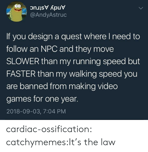 Cardiac: @AndyAstruc  If you design a quest where I need to  follow an NPC and they move  SLOWER than my running speed but  FASTER than my walking speed you  are banned from making video  games for one year  2018-09-03, 7:04 PM cardiac-ossification:  catchymemes:It's the law