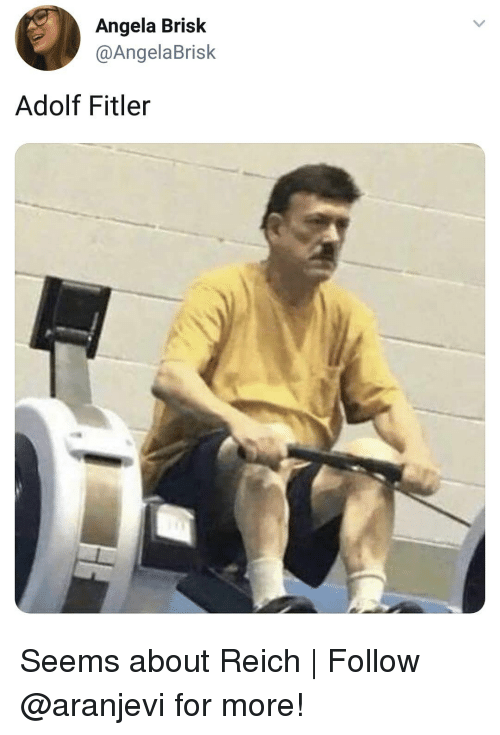 Memes, 🤖, and For: Angela Brisk  @AngelaBrisk  Adolf Fitler Seems about Reich | Follow @aranjevi for more!
