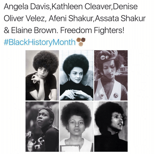 freedom fighters: Angela Davis, Kathleen Cleaver, Denise  Oliver Velez, Afeni Shakur, Assata Shakur  & Elaine Brown. Freedom Fighters!  #Black HistoryMonth