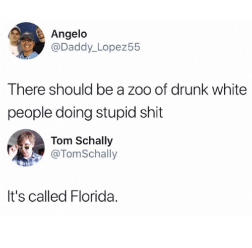 angelo: Angelo  @Daddy_ Lopez55  There should be a zoo of drunk white  people doing stupid shit  Tom Schally  @TomSchally  It's called Florida.