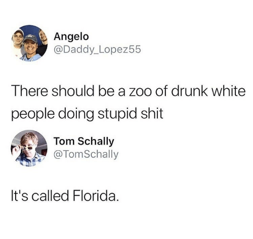 angelo: Angelo  @Daddy_ Lopez55  There should be a zoo of drunk white  people doing stupid shit  Tom Schally  TomSchall  It's called Florida.