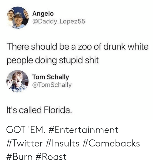 got em: Angelo  @Daddy_Lopez55  There should be a zoo of drunk white  people doing stupid shit  Tom Schally  @TomSchally  It's called Florida GOT 'EM. #Entertainment #Twitter #Insults #Comebacks #Burn #Roast