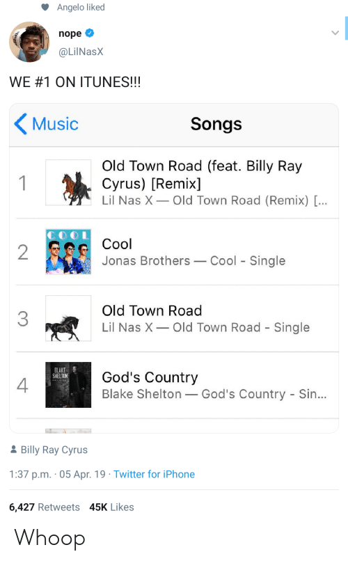 whoop: Angelo liked  nope  @LilNasX  WE#1 ON ITUNES!!!  Music  Songs  Old Town Road (feat. Billy Ray  Cyrus) [Remix]  Lil Nas X Old Town Road (Remix) [...  1  Cool  2  Jonas Brothers  Cool Single  Old Town Road  3  Lil Nas X  Old Town Road - Single  BLAKE  SHELTON  God's Country  Blake Shelton God's Country - Sin...  2Billy Ray Cyrus  1:37 p.m. 05 Apr. 19 Twitter for iPhone  6,427 Retweets 45K Likes Whoop