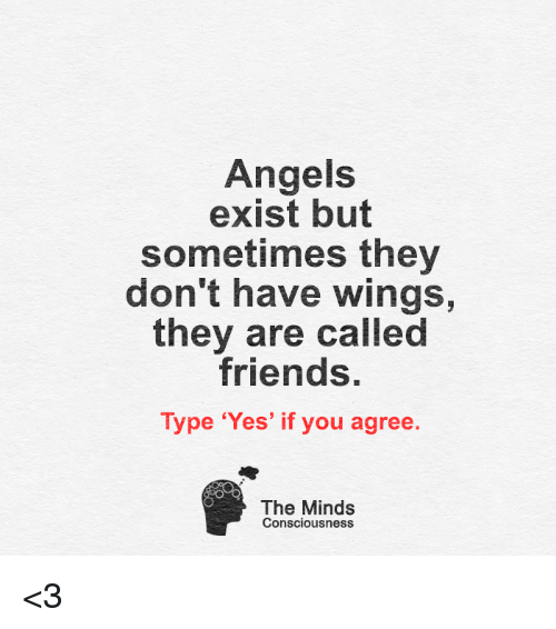 conscious: Angels  exist but  sometimes they  don't have wings,  they are called  friends.  Type 'Yes' if you agree.  The Minds  Consciousness <3