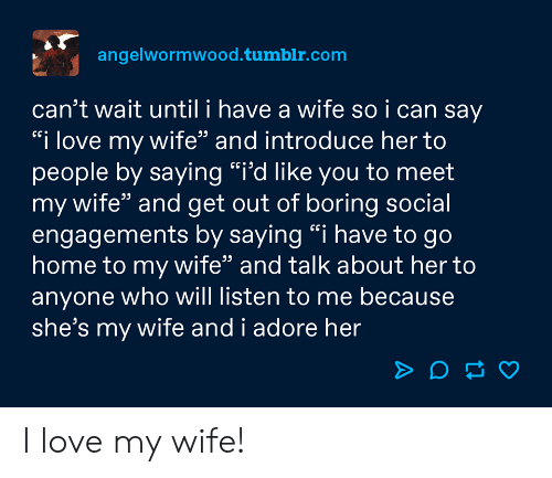 "adore: angelwormwood.tumblr.com  can't wait until i have a wife so i can say  ""i love my wife"" and introduce her to  people by saying ""i'd like you to meet  my wife"" and get out of boring social  engagements by saying ""i have to go  home to my wife"" and talk about her to  anyone who will listen to me because  she's my wife and i adore her I love my wife!"