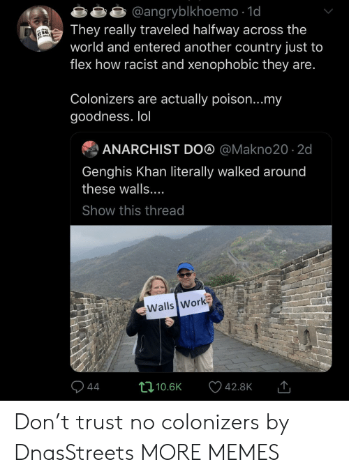 Anarchist: angryblkhoemo -1o  They really traveled halfway across the  world and entered another country just to  flex how racist and xenophobic they are  Colonizers are actually poison...my  goodness. lol  ANARCHIST DO@ @Makno20 2d  Genghis Khan literally walked around  these walls  Show this thread  Walls Work  10.6K  42.8K Don't trust no colonizers by DnasStreets MORE MEMES