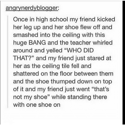 "Memes, School, and Teacher: angrynerdyblogger  Once in high school my friend kicked  her leg up and her shoe flew off and  smashed into the ceiling with this  huge BANG and the teacher whirled  around and yelled ""WHO DID  THAT?"" and my friend just stared at  her as the ceiling tile fell and  shattered on the floor between them  and the shoe thumped down on top  of it and my friend just went ""that's  not my shoe"" while standing there  with one shoe on"
