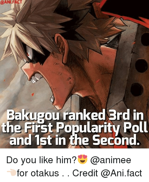 anie: ANI FACT  Bakugou ranked 3rd in  the First Popularity Poll  and 1st in the Second Do you like him?😍 @animee 👈🏻for otakus . . Credit @Ani.fact