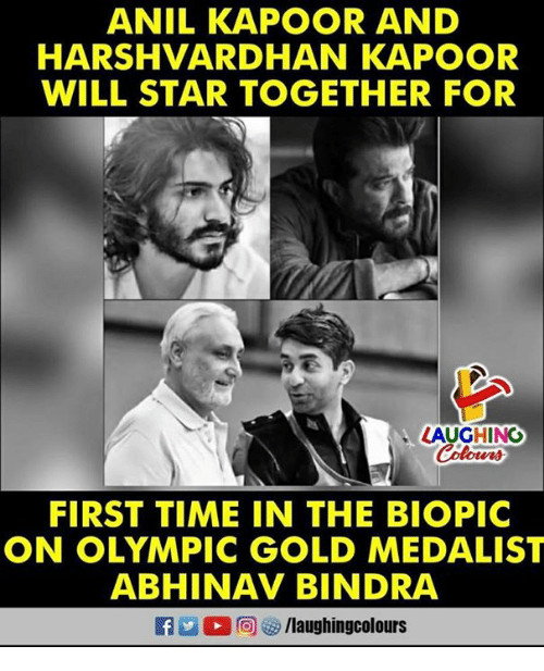 anil kapoor: ANIL KAPOOR AND  HARSHVARDHAN KAPOOR  WILL STAR TOGETHER FOR  LAUGHINO  FIRST TIME IN THE BIOPIC  ON OLYMPIC GOLD MEDALIST  ABHINAV BINDRA