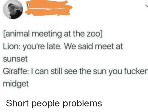 short people problems: [animal meeting at the zoo]  Lion: you're late. We said meet at  sunset  Giraffe: I can still see the sun you fucken  midget