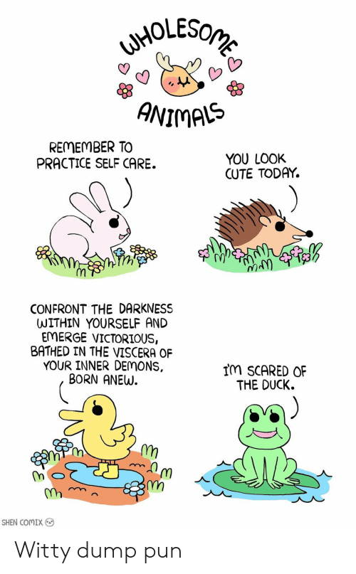 Comix: ANIMAS  REMEMBER TO  PRACTICE SELF CARE.  YOU LOOK  CUTE TODAY.  1y  CONFRONT THE DARKNESS  WITHIN YOURSELF AND  EMERGE VICTORIOUS,  BATHED IN THE VISCERA OF  YOUR INNER DEMONS,  BORN ANEW.  IM SCARED OF  THE DUCK.  스  m,  SHEN COMIX Witty dump pun