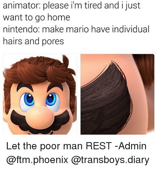 Memes, Nintendo, and Mario: animator: please im tired and i just  want to go home  nintendo: make mario have individual  hairs and pores Let the poor man REST -Admin @ftm.phoenix @transboys.diary