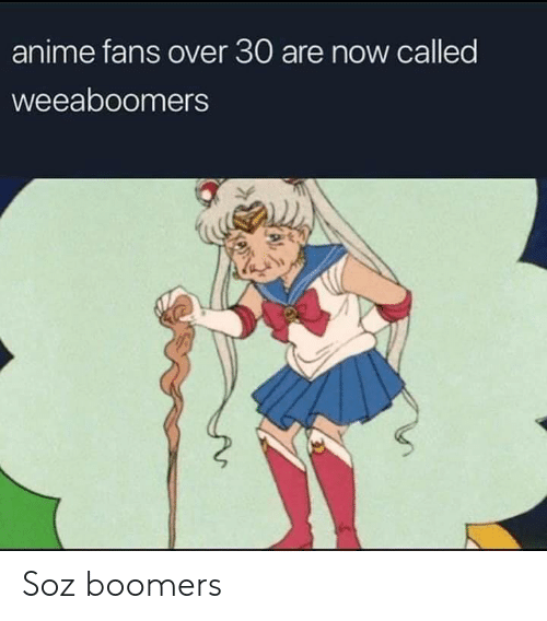 Over 30: anime fans over 30 are now called  weeaboomers Soz boomers