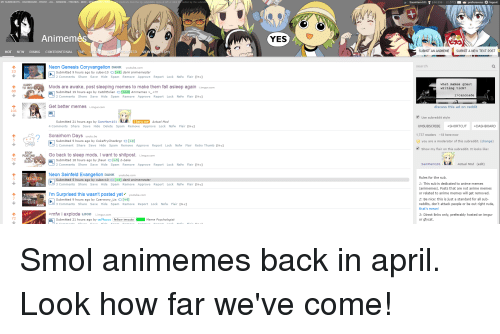 Anime, Mfw, and Nsfw: Animem  HOT NEW  RISING  CONTROVERSIAL  TOP  Neon Genesis Coryvangelion DANK  23  HURRY  Mods are awake, post sleeping memes to make them fall asleep again  88  Get better memes iinngurco  101  Submitted 21 hours ago by Sam Ham101  Actual Mod  Lock Nsfw Flair [I c]  Sorairhorn Days  youtu be  Submitted 5 hours ago by CokeFrychezbrgr O[+4l  etry Thumb [I+cj  Report Loc  STO  Go back to sleep mods  I want to shitpost. iimg  POSTING  AND  52  b-baka  SLEEP  Neon Seinfeld Evangelion DANK youtube  8] dank animemester  Submitted 5 hours ago by cubev10  I'm Surprised this wasn't posted yet youtube.com  >mfw i explode LooD  72  fellow imouto Meme psychologist  On Submitted 21 hours ago by  YES  e preferences  logout  SUBMIT AN ANIMEM  SUBMIT A NEW TEXT POST  what nakes great  writing tick?  r/canonade  discuss this ad on  reddit  UNSUBSCRIBE +SHORTCUT DASHBOARD  8 h  u are a moderator of thi  Actual Mod (edit  Sam Ham 101 i  Rules for the sub  1: This sub is dedicated to anime memes  (animemes). Posts that are not anime memes  or related to anime memes will get removed  dard  2: B  reddits, don't attack people or be out right rude,  that's mean!  3: Direct links only, preferably hosted on imgur  or gfy cat. Smol animemes back in april. Look how far we've come!