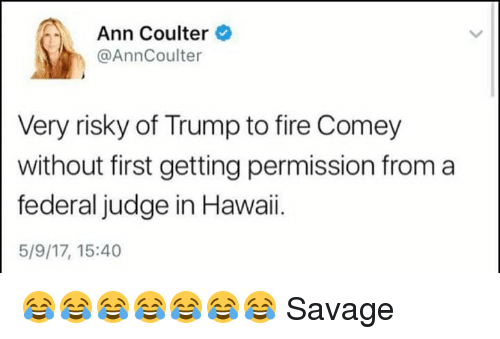 ann coulter: Ann Coulter  @AnnCoulter  Very risky of Trump to fire Comey  without first getting permission from a  federal judge in Hawaii.  5/9/17, 15:40 😂😂😂😂😂😂😂 Savage