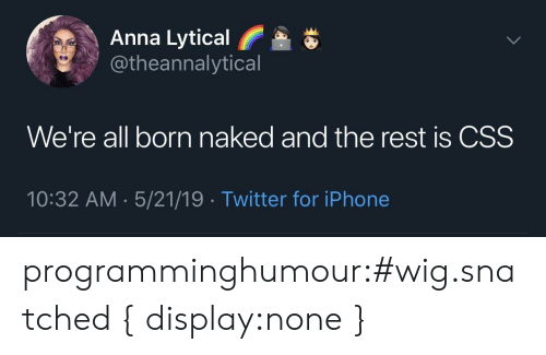 Anna: Anna Lytical  @theannalytical  We're all born naked and the rest is CSS  10:32 AM 5/21/19 Twitter for iPhone programminghumour:#wig.snatched { display:none }