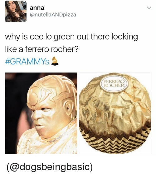 cee lo green: anna  @nutella AND pizza  why is cee lo green out there looking  like a ferrero rocher?  #GRAMMYS  FERRERO  ROCHER (@dogsbeingbasic)