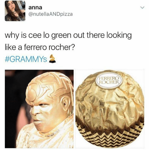 cee lo green: anna  @nutellaAND pizza  why is cee lo green out there looking  like a ferrero rocher?  #GRAMMYS  FERRERO  ROCHER