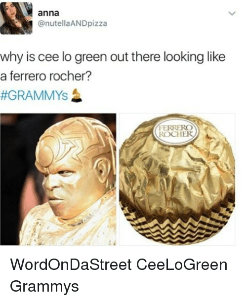 cee lo green: anna  nutellaANDpizza  why is cee lo green out there looking like  a ferrero rocher?  GRAMMYS  ROCHER WordOnDaStreet CeeLoGreen Grammys