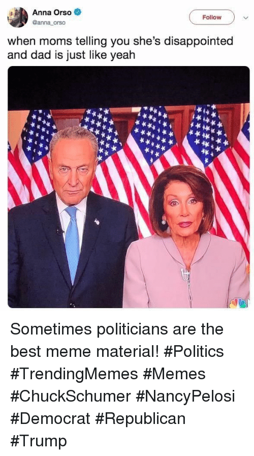 best meme: Anna Orso  Follow  @anna orso  when moms telling you she's disappointed  and dad is just like yeah Sometimes politicians are the best meme material! #Politics #TrendingMemes #Memes #ChuckSchumer #NancyPelosi #Democrat #Republican #Trump