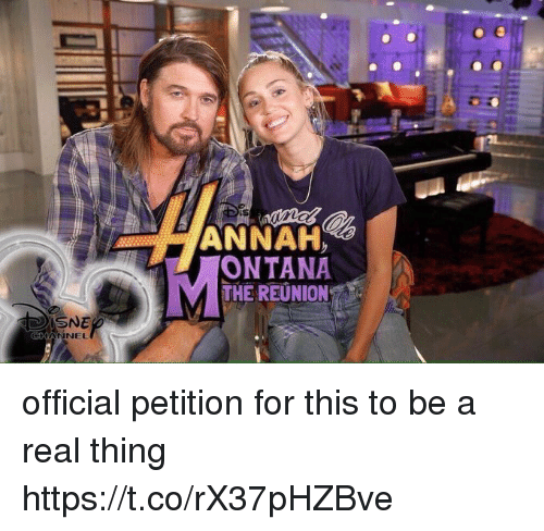 Funny, Thing, and Reunion: ANNAH  ONTANA  MTHE REUNION  SNE  NNEL official petition for this to be a real thing https://t.co/rX37pHZBve