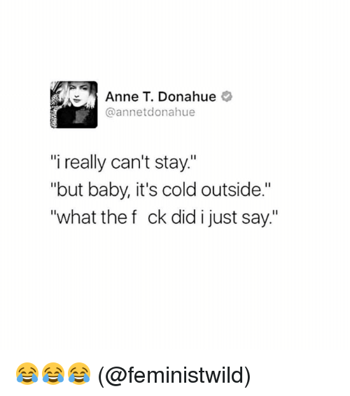 "Baby, It's Cold Outside: Anne T. Donahue  annetdonahue  ""i really can't stay.""  ""but baby, it's cold outside.""  ""what the f ck did i just say."" 😂😂😂 (@feministwild)"