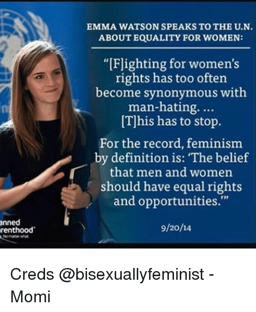 men and women have equal opportunities Speech by un women goodwill ambassador emma watson at a special women should have equal rights and opportunities if men don't have to control, women.