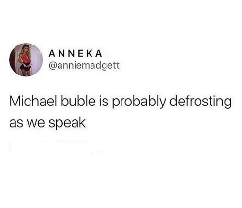 Michael Buble: ANNEKA  @anniemadgett  Michael buble is probably defrosting  as we speak